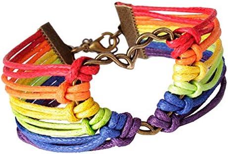 Men Women Ropes Bracelet Rainbow Adjustable Chain Multiplayer Rope Twining Weave Charm Heart Braided Bracelet