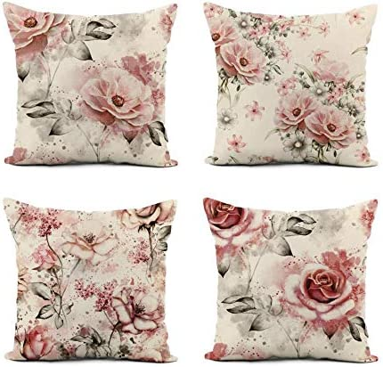 Rose Pink Floral Print Throw Pillow Case Cushion Cover Home Decor Pillowcases