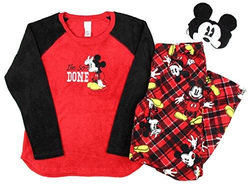 Disney Mickey Mouse Plush Pajama Sleep Set w/ Eyemask - Medium (Plush Mouse Eyemask)