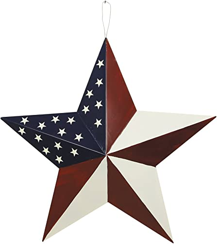 Attraction Design Patriotic Metal Barn Star Wall Decor, 21inch Hanging Country Rustic Metal Star for July 4th Decoration