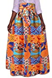 XQS Women African Printed Casual High Waisted A Line Maxi Skirt 2 S