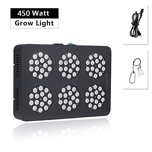 Full Spectrum 6-Spot Gow Light - Maravi OURLED90 450W Indoor Growing Led Plant Lights, Designed to Better Meet the Needs of Cannabis, 55 Feet Coverage, 50,000+hrs, Heavy-Duty 100%, 5-Year Warranty