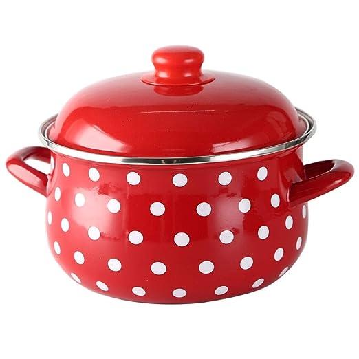 WJMLS Hierro fundido esmaltado del horno holandés Olla con tapa ...
