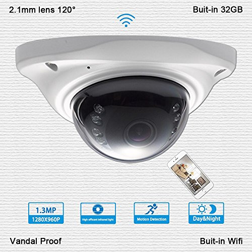 1.3Megapixel 960P WiFi Wireless IP Security Camera Audio Recording Built-in32G SD Card 120° Wide Angle Vandal Proof Day Night Vision Indoor Dome Cameras for Baby/Elder/Nanny Monitor