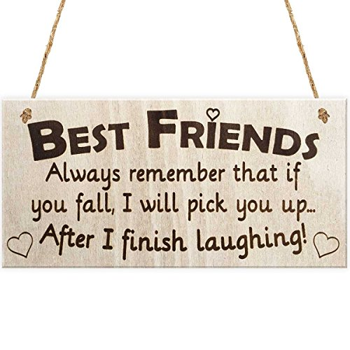 ULTNICE Friendship Sign BEST FRIENDS Wooden Hanging Sign Birthday Party Plaque Gift -