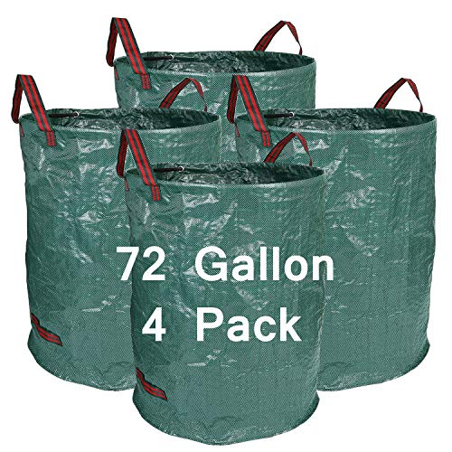 (Hengu 4 Pack 72 Gallon Garden Bags Durable Reusable Yard Waste Bags Leaf Waste Trash Container)
