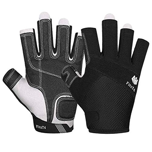 FitsT4 Kayaking Gloves 3/4 Finger Padded Palm - Mesh Back for Comfort - Perfect for Sailing, Paddling, Canoeing, Kayaking, SUP for Men Women & Kids