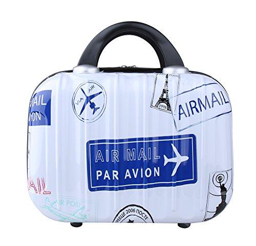 Genda 2Archer Cute Cartoon Hard Shell Cosmetic Carrying Case Small Travel Hand Luggage (Stamp-Dark Blue)