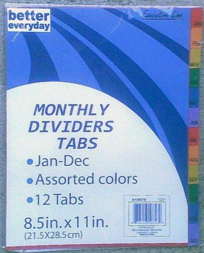 12 Month Tabs (12 Month Binder Dividers - Jan Thru Dec)