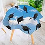 UHOO2018 Indoor/Outdoor Tablecloth-Thrown into Sky Last of The School Highschool College Ceremony Picture Blue Black Available in Many Different Sizes and Colorways 63'' Round