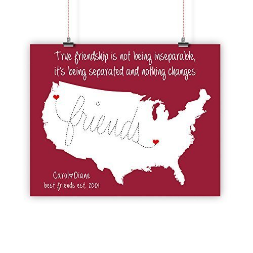 best friend christmas gift long distance relationship map print framed or canvas