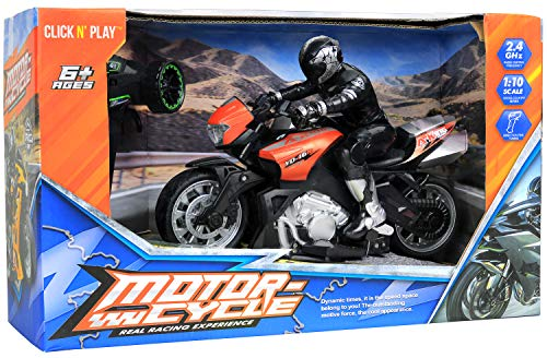 Click N' Play Cross Country High Speed RC Remote Control Stunt Motorcycle with Riding Figure (Red)