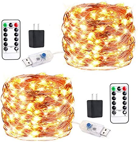 Innotree 2 Pack Fairy Lights USB Plug in with Remote Dimmable Waterproof, 33ft 100 LEDs Warm White Firefly Twinkle String Lights for Bedroom Indoor Outdoor Party Wedding Decoration, Copper Wire