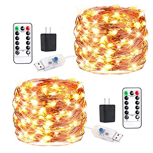 - innotree 2 Pack Fairy Lights USB Plug in with Remote Dimmable Waterproof, 33ft 100 LEDs Warm White Firefly Twinkle String Lights for Bedroom Indoor Outdoor Party Wedding Decoration, Copper Wire