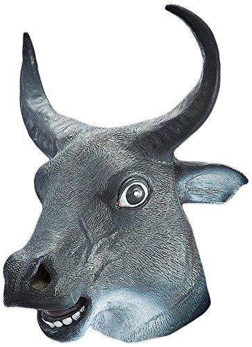 Maschera toro in gomma animale con corna  Amazon.it  Giochi e giocattoli 9827ba0a7ef8