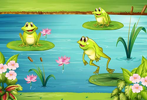 Cartoon Frog in Pond Scenery Backdrop for Photography Summer Lotus Leaf Flowers Kids Birthday Party Background 7x5 ft