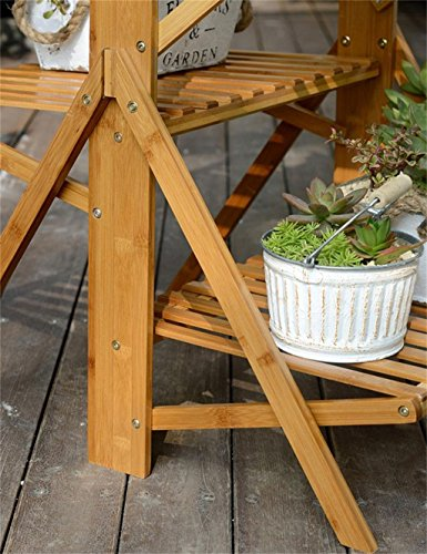 cdbl-plant estante/rack de flores plegable de madera maciza piso pisos salón flor accesorio de/balcón multi-meat verde flores macetas/macetas con marco ...
