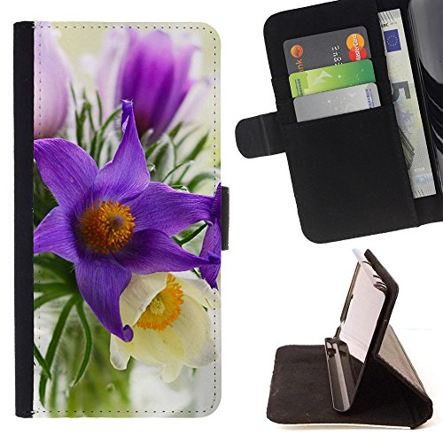 God Garden - FOR Apple Iphone 4 / 4S - Asque Flowers - Glitter Teal Purple Sparkling Watercolor Personalized Design Custom Style PU Leather Case Wallet Fli