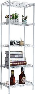 ABCDOOM 5 Wire Shelving Steel Rack Adjustable Unit Storage Shelves for Laundry Bathroom Kitchen Pantry Closet, White