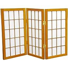 Oriental Furniture 2 Ft. Tall Desktop Window Pane Shoji Screen   Honey   3  Panels