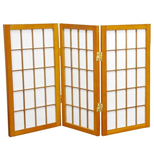 Oriental Furniture 2 ft. Tall Desktop Window Pane Shoji Screen - Honey - 3 Panels