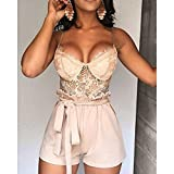 Women One Piece Outfits Sets Sexy See Through Sheer Mesh Crop Tank Top with Drawstring High Waist Shorts Pants Summer Casual Bandage Bodycon Workout for Club Patry Nightwear