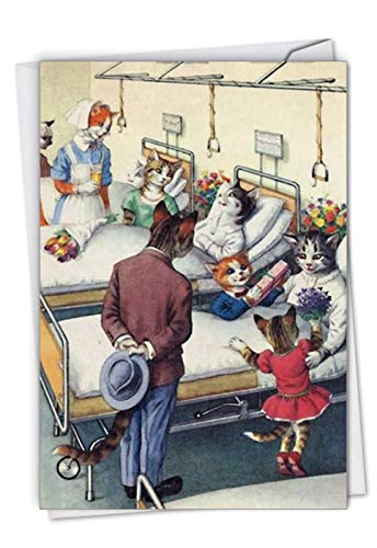 Crazy Cats: Get Well Greeting Card Featuring Kitties Wishing You a Speedy Recovery, with Envelope. C6109GWG