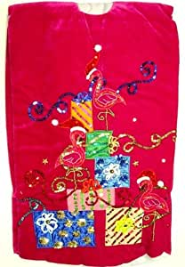 Rasberry Velvet Tropical Beach Pink Flamingo Christmas Holiday Tree Skirt