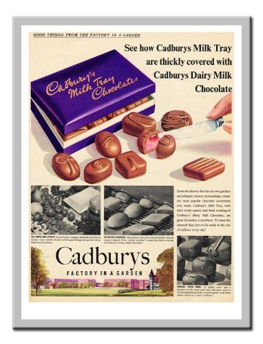 1950's Chocolate (Iposters Cadburys Milk Tray Chocolate Advert 1950s Print Magnetic Memo Board Silver Framed - 41 X 31 Cms (approx 16 X 12 Inches))