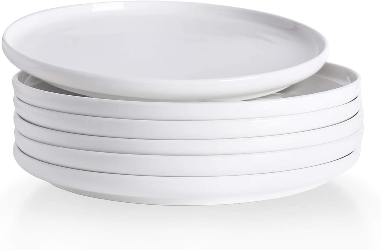 Kanwone Porcelain Dessert Salad Plates - 8 Inch - Set of 6, White, Microwave and Dishwasher Safe Plates