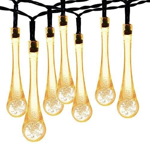 Solar String lights, Oak Leaf Waterproof 20ft 30 LED Outdoor Decorative Garden Crystal Fairy Lights(Warm - Leaf Oak Hanging Outdoor