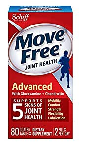 Move Free Joint Health Advanced with Glucosamine and Chondroitin and Hyaluronic Acid Joint Supplement, 80 tablets