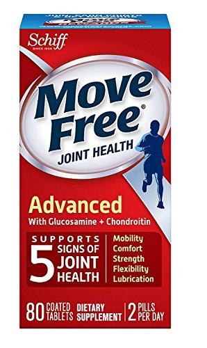 关节卫士Move Free 葡萄糖胺软骨素和透明质酸 三倍强效补充剂,80粒