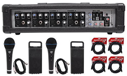 Rockville RPM45 2400w Powered 4-Channel Mixer Pro Mixing Amplifier, FX, Phantom