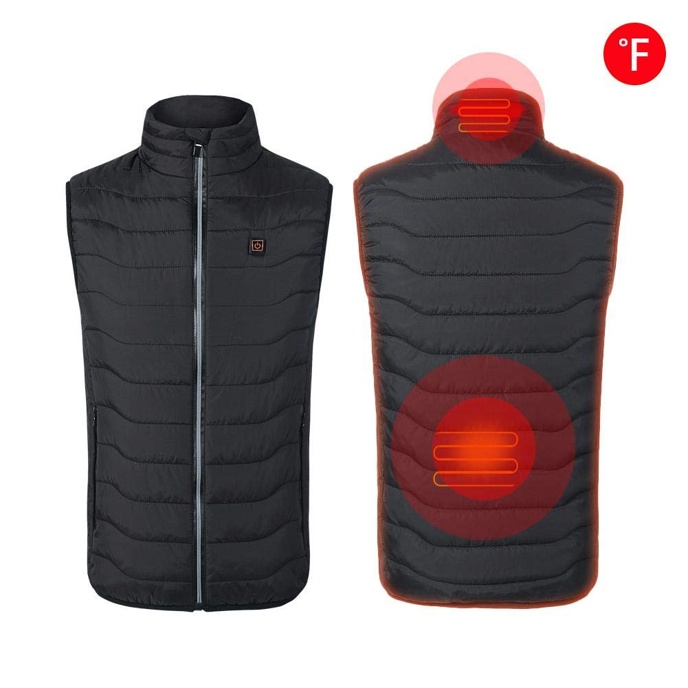 Chen0-super Electric Heated Vest USB Rechargeable Insulated Heated Vest Washable Serrated Body Warmer Gilet For Neck and Back, For Outdoor Hiking Camping