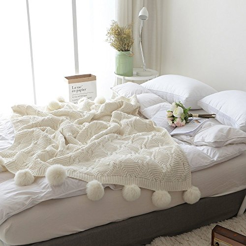 "Price comparison product image Pom Pom Plush Throw Blanket, Luxurious Lovely Lounge Cover Knitted Blanket Fit for Adult and Teens Resting Reading Apply on All Seasons (51.18""×59.05"", Cream)"