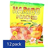 Haribo Gummi Candy, Peaches, 5 oz. Bag (Pack of 12)