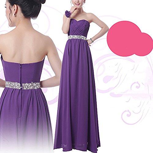 iShine Elegante Vestidos Largos de Gasa Sin Mangas de Fiesta para Bodas con Pulsera de Flores Purpura Tipo 2