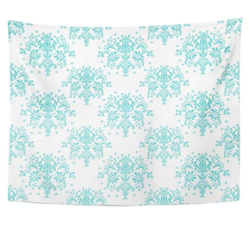 Emvency Tapestry Polyester Fabric Print Home Decor Blue Floral Aqua White Damask Wedding Abstract Antique Baroque Beautiful Bold Wall Hanging Tapestry for Living Room Bedroom Dorm 60x80 (60x80 Da Mat)