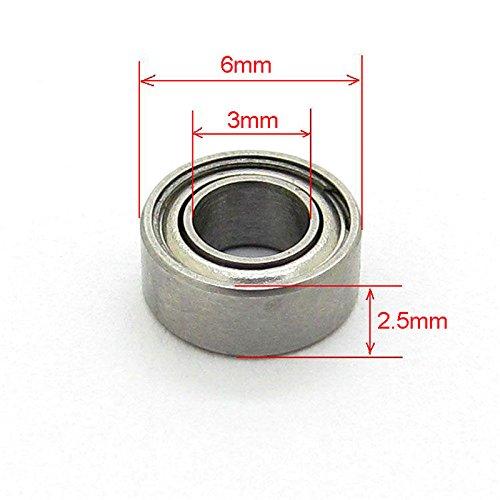 3x6x2.5 mm Miniature Steel Bearings MR63ZZ L-630 673ZZ Deep Groove Ball bearing Pack of 10 JiuWu