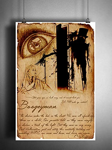 Boogeyman science journal art print, myths monsters and folklore, cryptid bestiary art