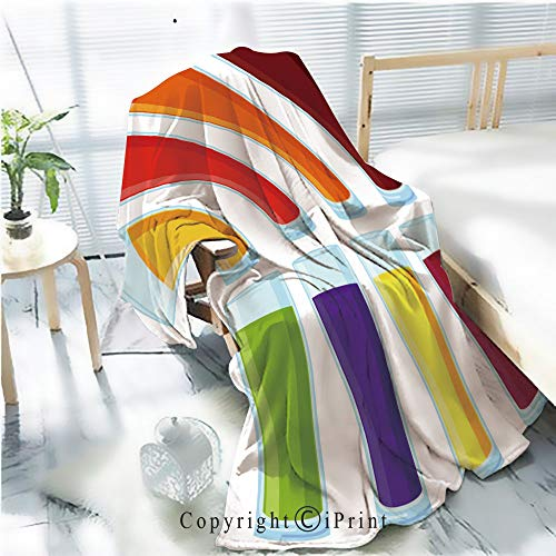 Printed Soft Blanket Premium Blanket,Colorful Cartoon Juice Glass Set Microfiber Aqua Blanket for Couch Bed Living Room,W59.1 xH78.7