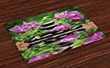 Lunarable Spa Place Mats Set of 4, Zen Basalt Stones and Orchid Reflecting on Water Greenery Wellbeing Tropical, Washable Fabric Placemats for Dining Room Kitchen Table Decoration, Fren Green Lavander