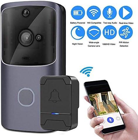 ワイヤレスWiFiビデオドアベル、チャイム、双方向トーク、PIRモーション検出&ビデオナイトビジョン、iOS版/ Android向けアプリのリモコン付き720P HD無料クラウドストレージスマートドアベルカメラ lsmaa