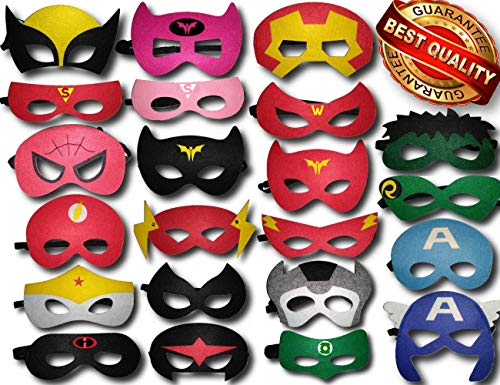 TONSY Superhero Masks for Kids Birthday Party Favors, Dress Up and Avengers Party Supplies (22 Packs) - ADJUSTABLE and Multiple Sizes for Boys, Girls and Adults | eBook Included by Gazelle'sGoods