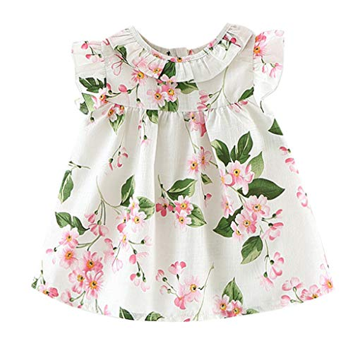 Price comparison product image Pitauce Kids Toddler Baby Cute Girl Summer Clothes Floral Print Bowknot Princess Party Pageant Dress White
