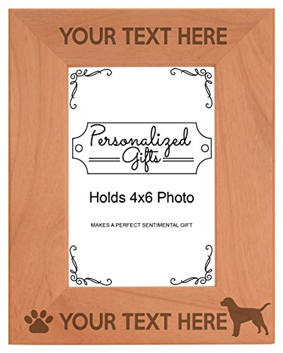 (Personalized Gifts Custom Dog Picture Frame Labrador Your Text Best Labrador Ever Customized Dog Name Natural Wood Engraved 4x6 Portrait Picture Frame Wood)