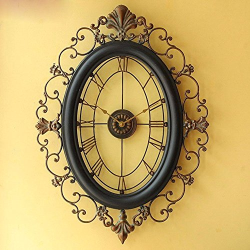 SUNQIAN-Living room large wrought iron wall clock, muted wall clock