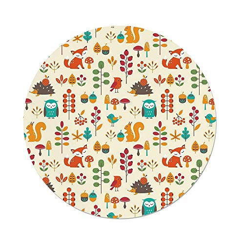 iPrint Polyester Round Tablecloth,Children,Cute Kids Autumn Pattern with Owl Fox Squirrel Birds Animal Leaves Artsy Print,Multicolor,Dining Room Kitchen Picnic Table Cloth Cover,for Outdoor Indoor - Squirrel Proof Bird Table