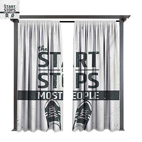 bybyhome Porch Curtains Quote Modern Motivational and Inspiring Quotation with Teenager Artwork Image Print W96 xL84 Suitable for Front Porch,pergola,Cabana,Covered Patio